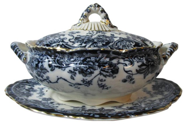 Flow Blue Sauce Tureen & Underplate