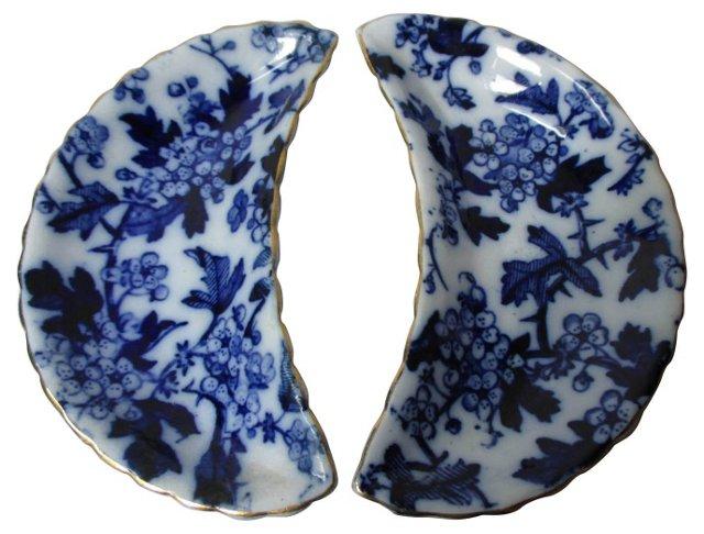 Flow Blue Bone Dishes, Pair