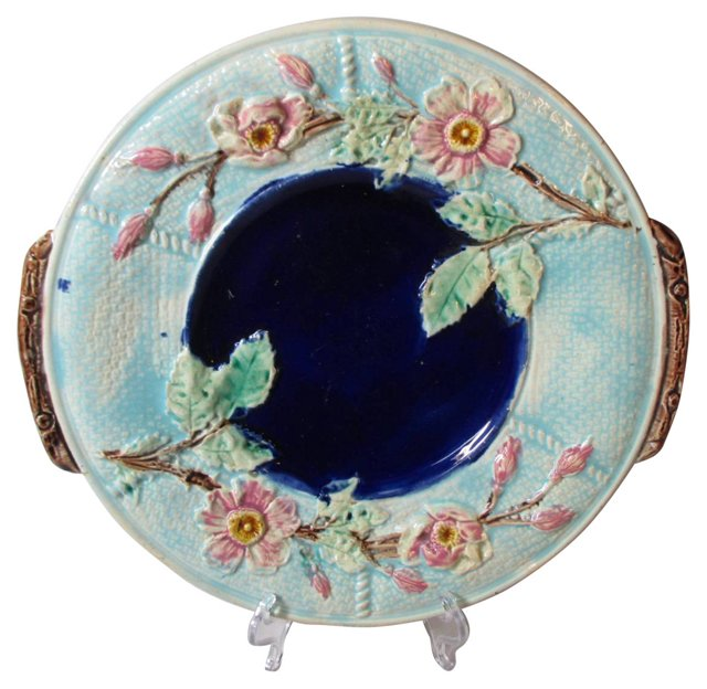 Antique Majolica Handled Cake Plate