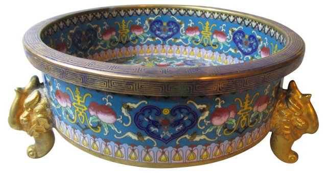 Antique Chinese Cloisonné Footed Bowl