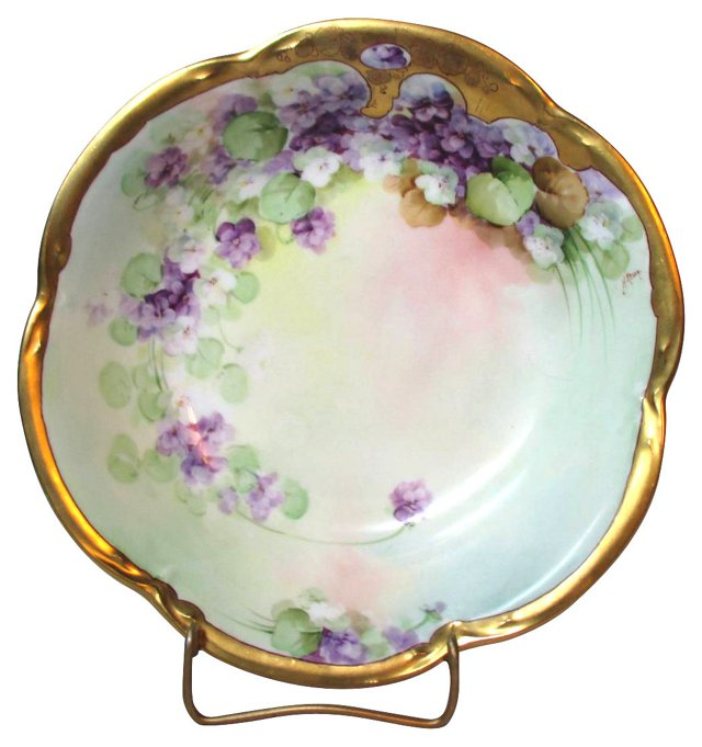 Pickard Reury Violets Hand-Painted Bowl