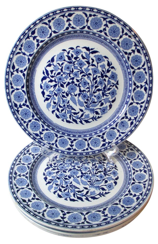 Antique Staffordshire Dinner Plates, S/4