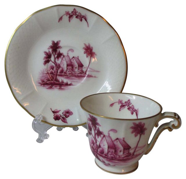 Hand-Painted B C Limoges Cup & Saucer