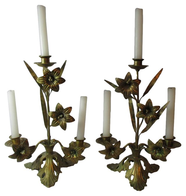 French Brass Floral Candlesticks, Pair
