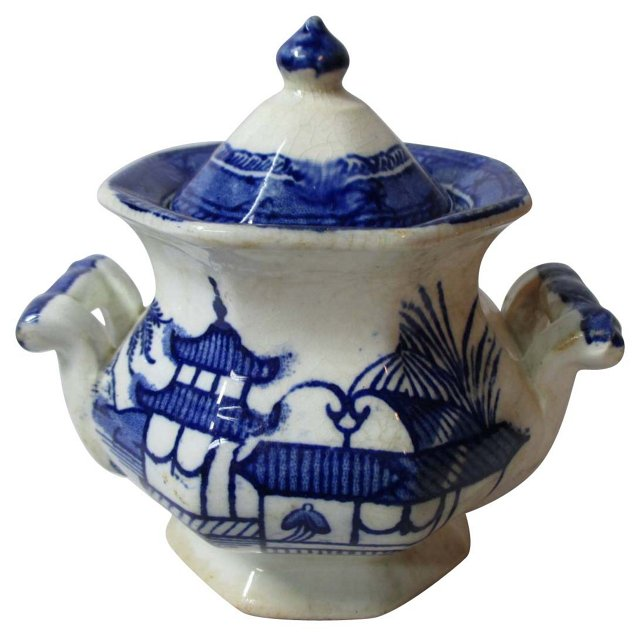 Child's Flow Blue   Sugar Bowl