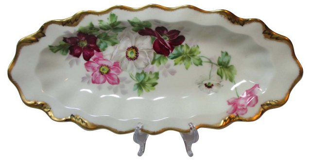 Limoges Hand-Painted Floral Bread Tray
