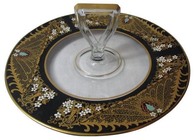 Art Deco Gold & Enamel Serving Plate