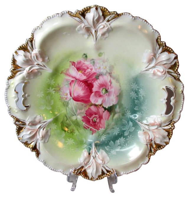 Prussia Floral Handled Cake Plate