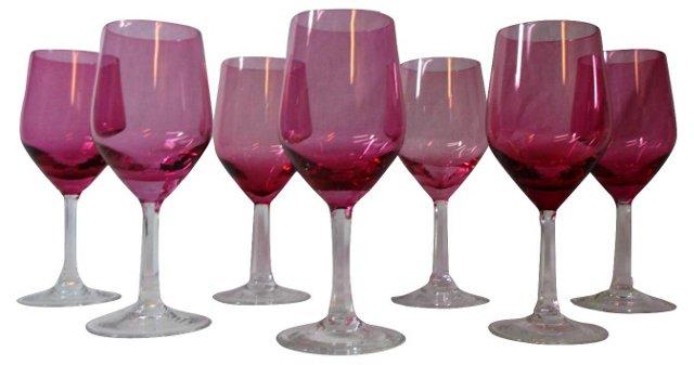 Cranberry & Crystal Wine Goblets, S/7
