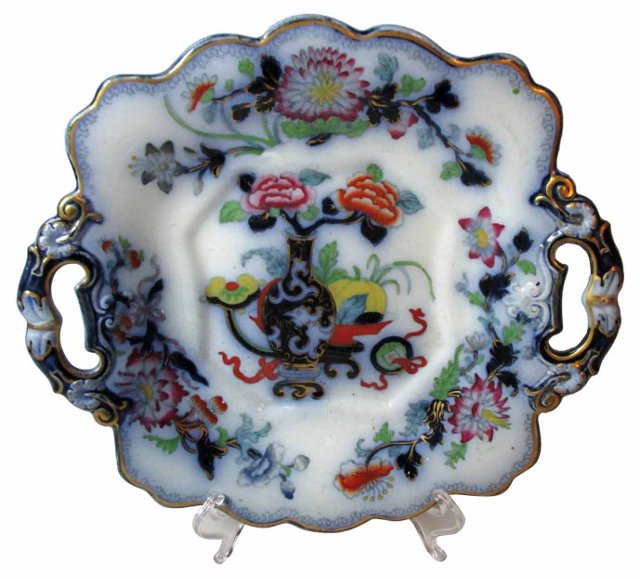 Flow Blue Chinoiserie Handled Plate