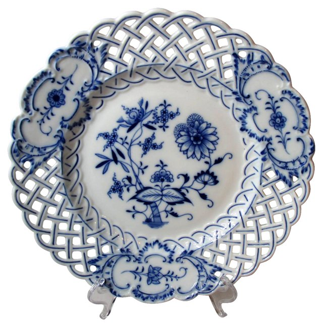 Meissen Reticulated Blue Onion Plate