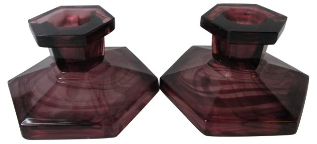 Tortoiseshell Glass Candlesticks, Pair
