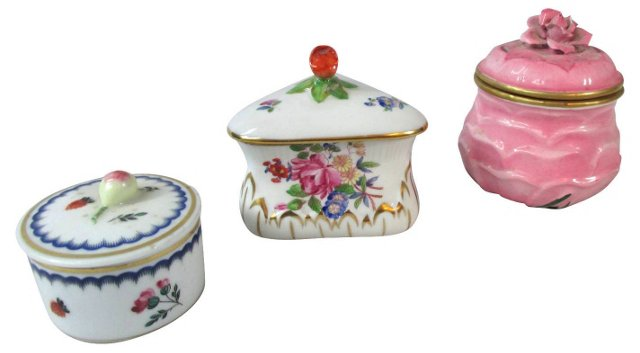 Porcelain Trinket Boxes, S/3