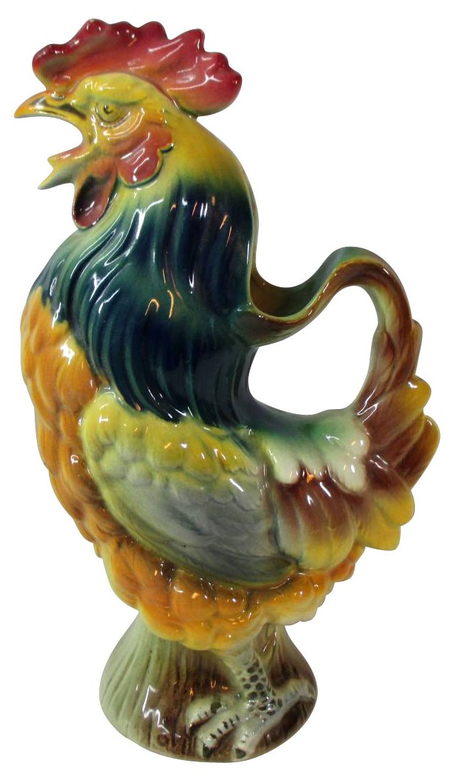 Antique French Majolica Rooster Pitcher