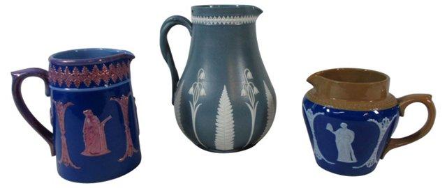 English Jasperware Pitchers, S/3