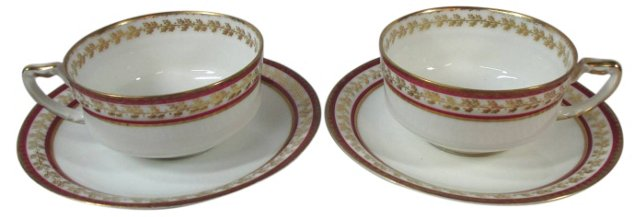 Red & Gold Haviland Cups & Saucers, Pair