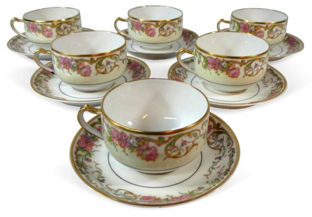 Haviland Scrolled Cups & Saucers, S/6