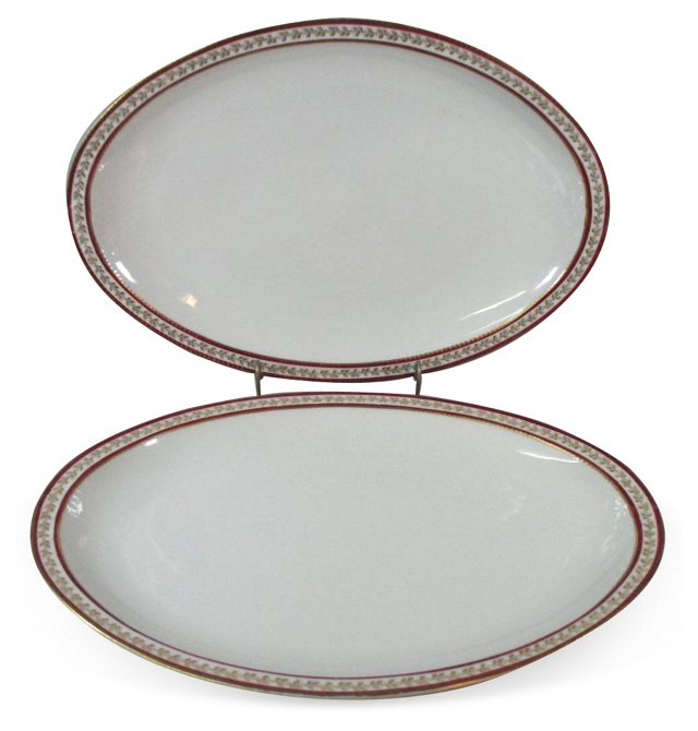Haviland Red & Gold Platters, Pair