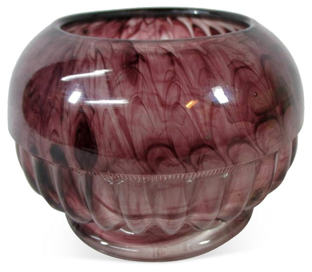 Purple Tortoiseshell Art Glass Bowl