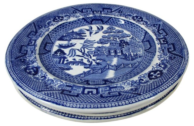 Blue Willow Salad Plates, S/3