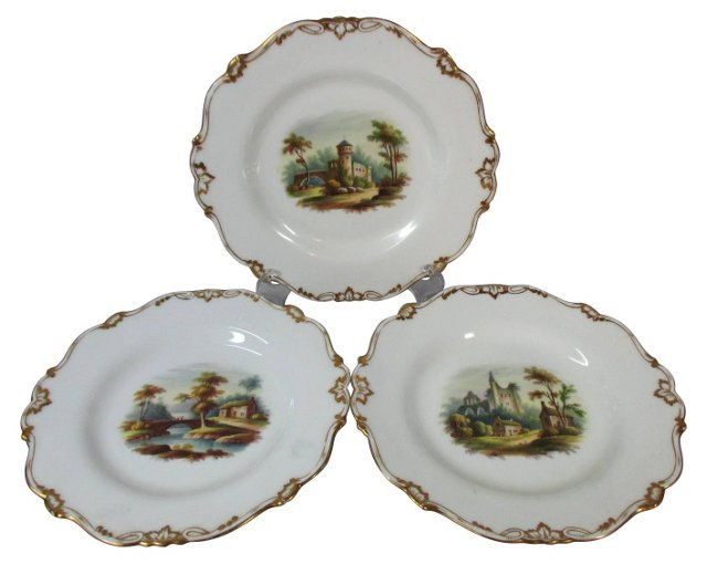 English Hand-Painted Scenic Plates, S/3