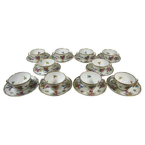Dresden Boullion Cups & Saucers, S/10