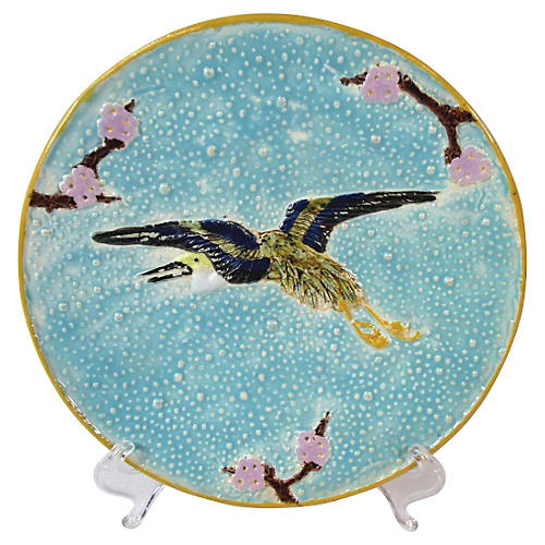 English Majolica Flying Crane Plate