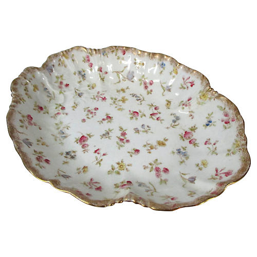 English Rose & Flower Oval Bowl
