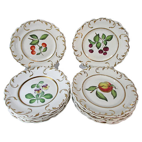 Worcester Fruit/Flower Plates, S/12
