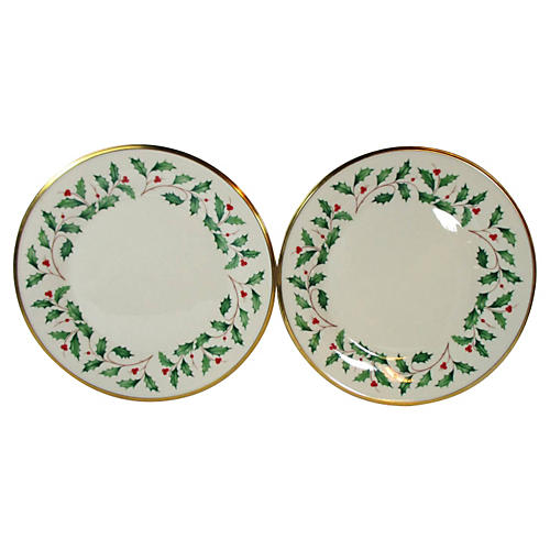 Lenox Christmas Holly Plates, S/2