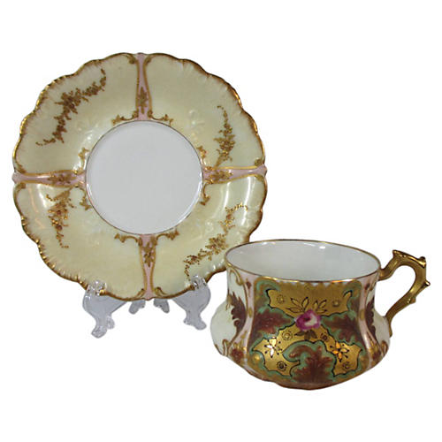 French Lithophane Cup & Saucer