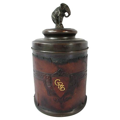 Leather & Brass Humidor w/ Elephant