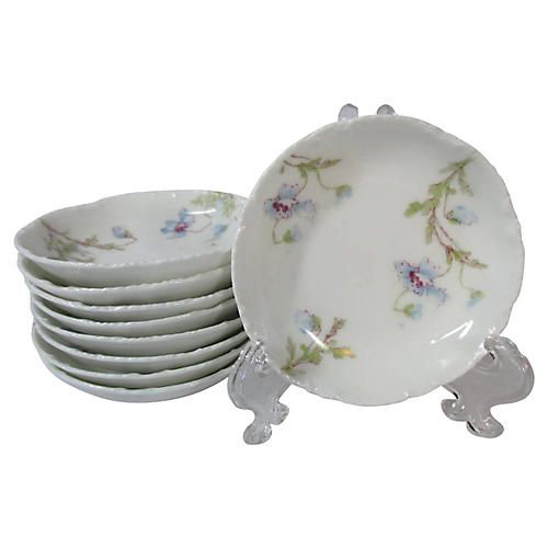 Haviland Blue Floral Butter Pats, S/9