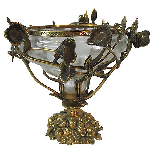 French Crystal Bowl w/Brass Floral Base