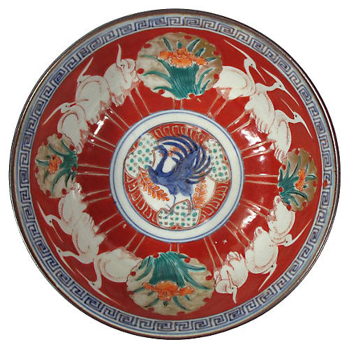 Chinese Rooster & Crane Bowl