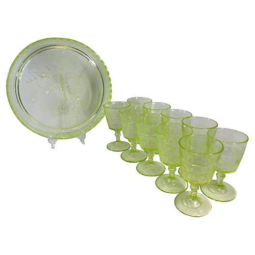 Uranium Glasses & Tray, 11 Pcs