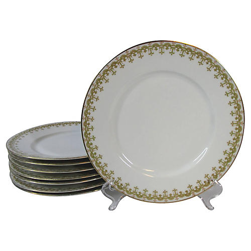 Limoges Geometric Lunch Plates, S/8