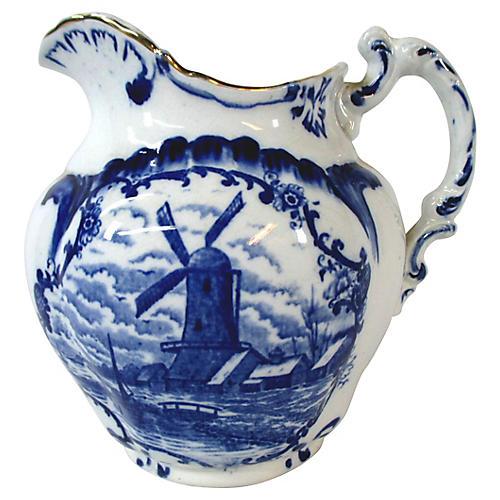 English Flow Blue Windmill Pitcher