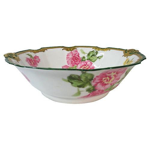 Hand-Painted Limoges Geranium Bowl