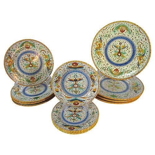Cantagalli Raffaelesco Plates, 12 Pcs