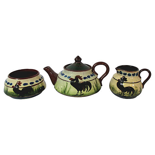 Torquay Black Rooster Tea Set, 3 Pcs