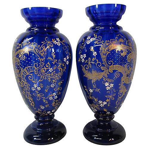 Cobalt Enameled Art Glass Vases, Pair