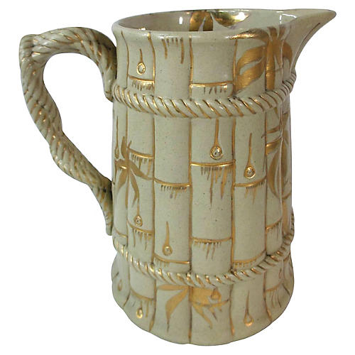 Antique Staffordshire Bamboo Pitcher