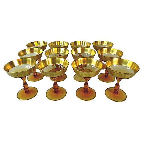 Amber Dessert Coupes, S/12