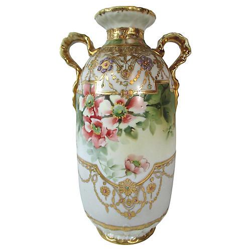 Nippon Hand-Painted Floral Vase