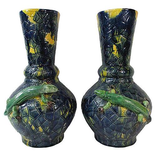 Palissy Majolica Chameleon Vases, Pair