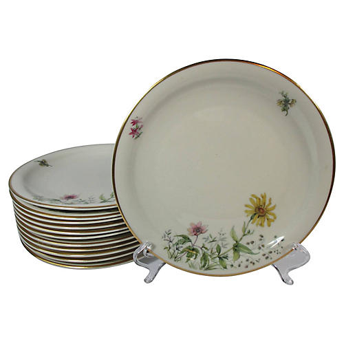 Mid Century Floral Salad Plates, S/12
