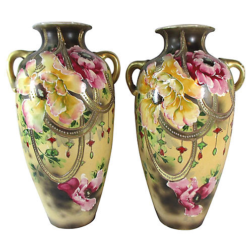 Hand-Painted Nippon Vases, S/2