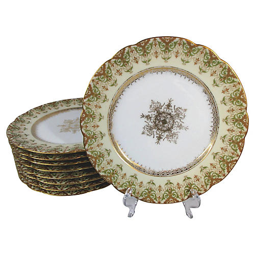 Limoges Luncheon Plates, S/8