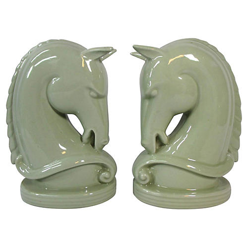Sage Green Horse Head Bookends, Pair